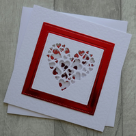 Ruby Heart of Hearts Shaker Card - Anniversary or Love Card