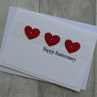 Three Red Hearts - Happy Anniversary - Anniversary Card