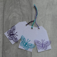Purple, Turquoise and Lilac Die Cut Butterflies  - Set of Three Gift Tags