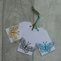 Gold, Grey and Turquoise Die Cut Butterflies  - Set of Three Gift Tags