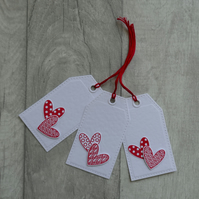 Two Red Hearts - Set of Three Gift Tags