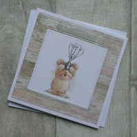 Cute Bear with 'No 1' Trophy - Birthday or Celebration Card