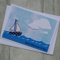 Small Boat on Sea - Birthday Card