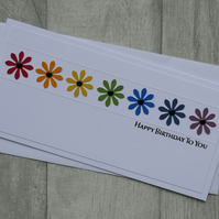Rainbow Daisies Birthday Card