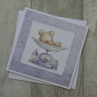 Cute Baby Bear on Lilac Scales - New Baby Card