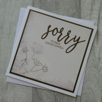 Brown and Cream Floral Card - Sorry to Hear You're Unwell - Get Well Card