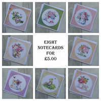 A Set of Eight Blank Notecards - Floral and Garden Designs