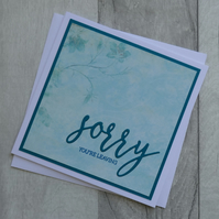 Turquoise Floral 'Sorry You're Leaving' Greetings Card