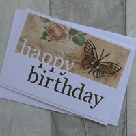 Brown Butterfly and Vintage Rose - Happy Birthday - Birthday Card