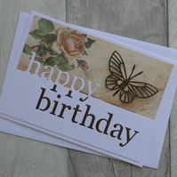 Brown Butterfly and Vintage Rose Paper - Happy Birthday - Greetings Card