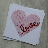 Pink Floral Heart with Red Glitter 'Love' - Anniversary or Love Card