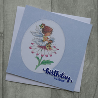 Cute Fairy Sitting on Pink Flower - Birthday Wishes - Greeting Card