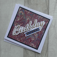 Maroon, Blue & Green Marbled Paper - Birthday Wishes - Upcycled Greetings Card