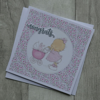 Baby with Pink Pram - Congrats - New Baby Greeting Card