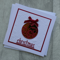 Gold Bauble with Red Decoration and Bow - Christmas Card