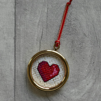 Red Cross Stitch Heart in Gold Frame - Christmas Tree Decoration