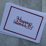 Embossed Swirl Border and Red 'Happy Christmas' Card