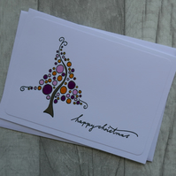 Purple, Pink, Gold and Green Bubble Christmas Tree  -  Happy Christmas - Card