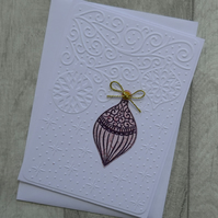 Purple and Pink Opulent Bauble on Embossed Background - Christmas Card