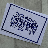 Embossed Snowflakes and Blue 'Let it Snow' Christmas Card