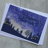 Children Sledging with Beige Winter Sky - Happy Christmas - Greetings Card