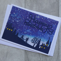 Children Sledging with Blue Winter Sky - Happy Christmas - Greetings Card