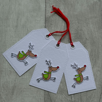 Rudolph Red Nose Reindeer - Set of Three Christmas Gift Tags