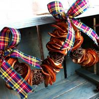 Dried Fruit Christmas Garland with Buchanan Tartan - Christmas Wreath Decoration