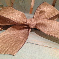 5 Large Natural Hessian Kraft Wired Bows - Craft Supplies
