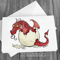 New Baby Card - Dragon Greeting Card - Red Dragon  (Blank inside)