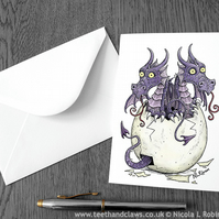 Twins New Baby Card - Dragon Greeting Card  (Blank inside)