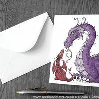 Dragon Greeting Card - Mother's Day Card  (Blank inside)