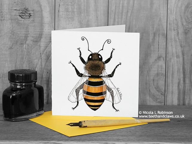 Honey Bee Greeting Card - Bee Card - Blank