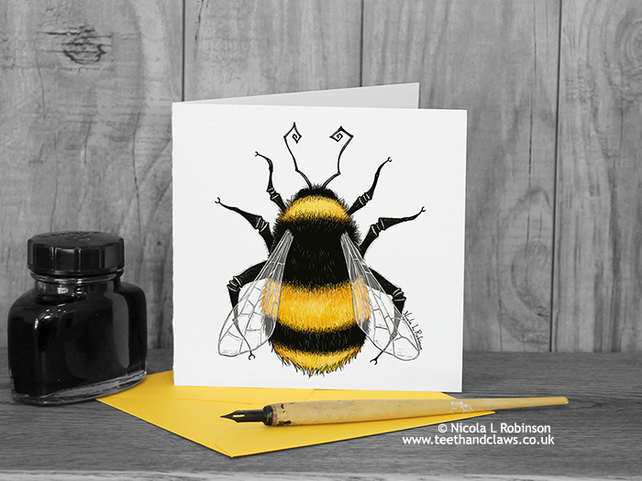 Bumble Bee Greeting Card - Bee Card - Blank