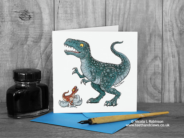 Dinosaur Father's Day Card - Daddy Trex - Dinosaur Card - Blank Inside