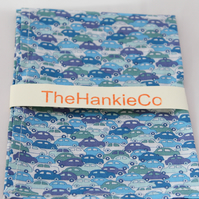 Liberty cotton hankie with a design of blue cars