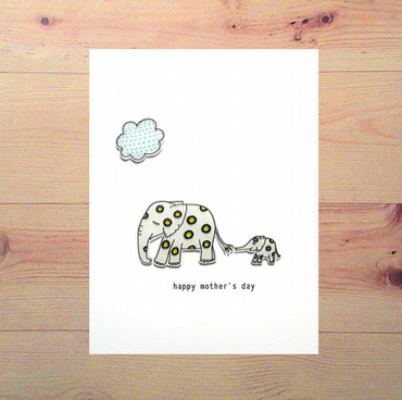 mother's day card - elephants - handmade card