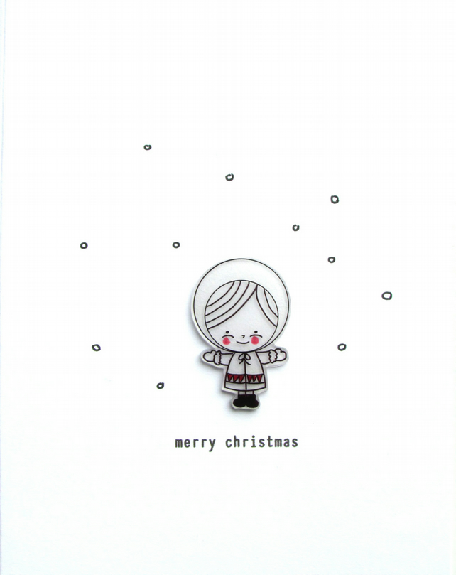 SALE -  christmas card - snow girl