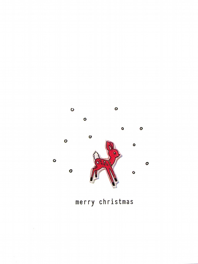 SALE - christmas card - deer in snow