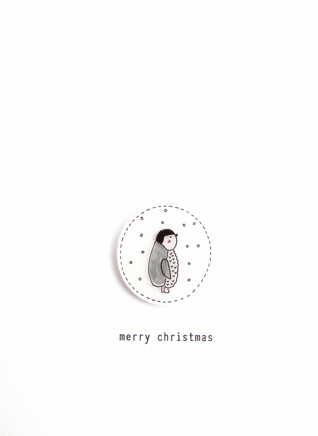 SALE - merry christmas - baby penguin  - handmade christmas card