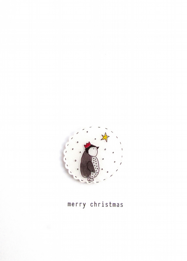 SALE - merry christmas - baby penguin and star - handmade christmas card