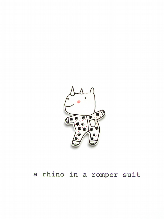 card - a rhino in a romper suit