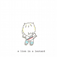card - a lion in a leotard
