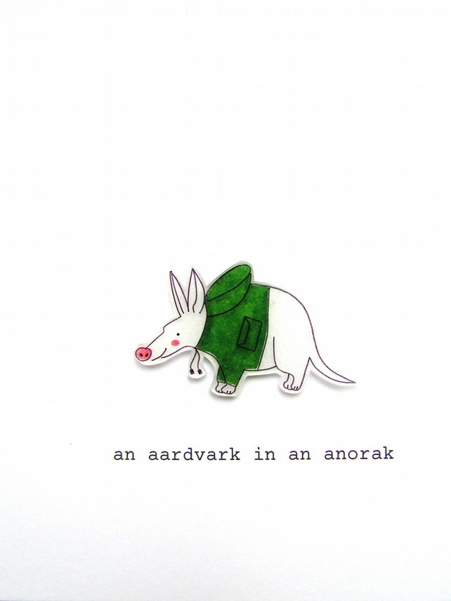 card - an aardvark in an anorak (green)