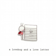 card - a lovebug & a love letter - personalised