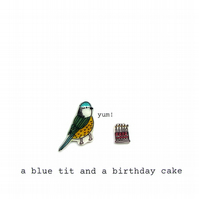 birthday card - a blue tit and a birthday cake