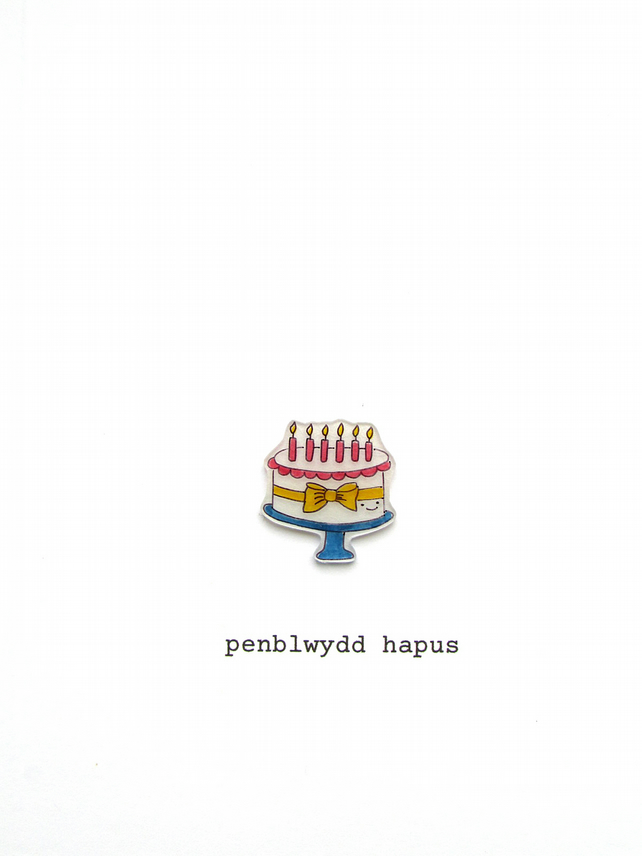 penblwydd hapus - happy birthday cake - welsh birthday card