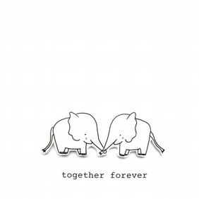 valentine's day card - elephants in love