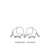 together forever - elephants -  handmade valentine's day card