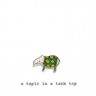 card - a tapir in a tank top